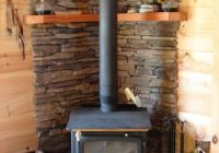 image of wonderful wood stove in small cabin with wicker log Cabin Wood Stove