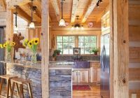kitchen with stacked stone bar area rustic house log Log Cabin Bar Areas