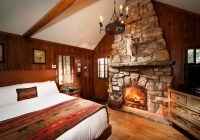 knotty pine one room cottage with fireplace big cedar lodge Cabin Cottage Bedroom