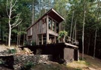 slanted roof storageshed under house secluded cabin off Slant Roof Cabin With Loft