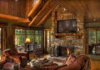 the pros and cons of having a tv over the fireplace cabin Country Cabin Living Room Ideas