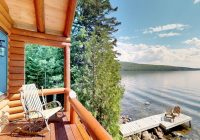 waterfront log cabin on moosehead lake wdock kayaks Lake Cabin Maine