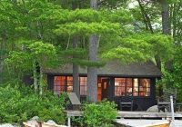wood paneled cottage on the shores of southern maines Lake Cabin Maine